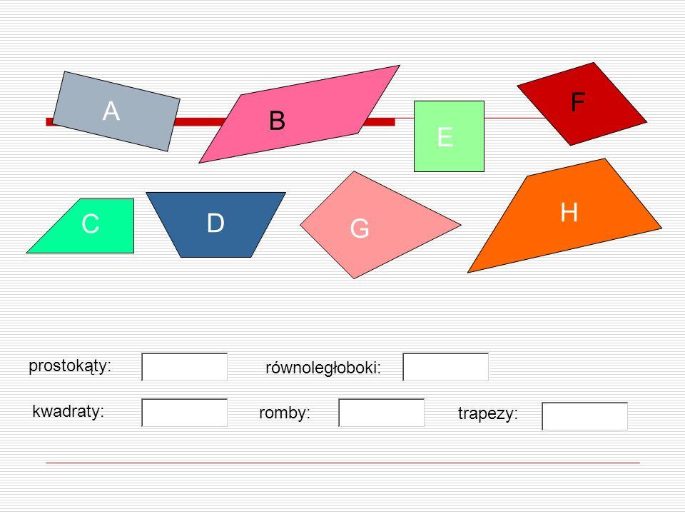 B A D E F C G H prostokąty: kwadraty: równoległoboki: trapezy: romby: