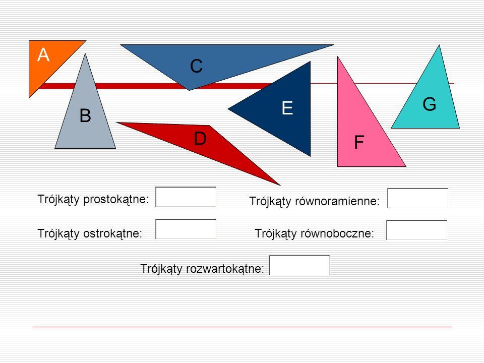 B A D E G F C Trójkąty prostokątne: Trójkąty ostrokątne: Trójkąty równoramienne: Trójkąty rozwartokątne: Trójkąty równoboczne:
