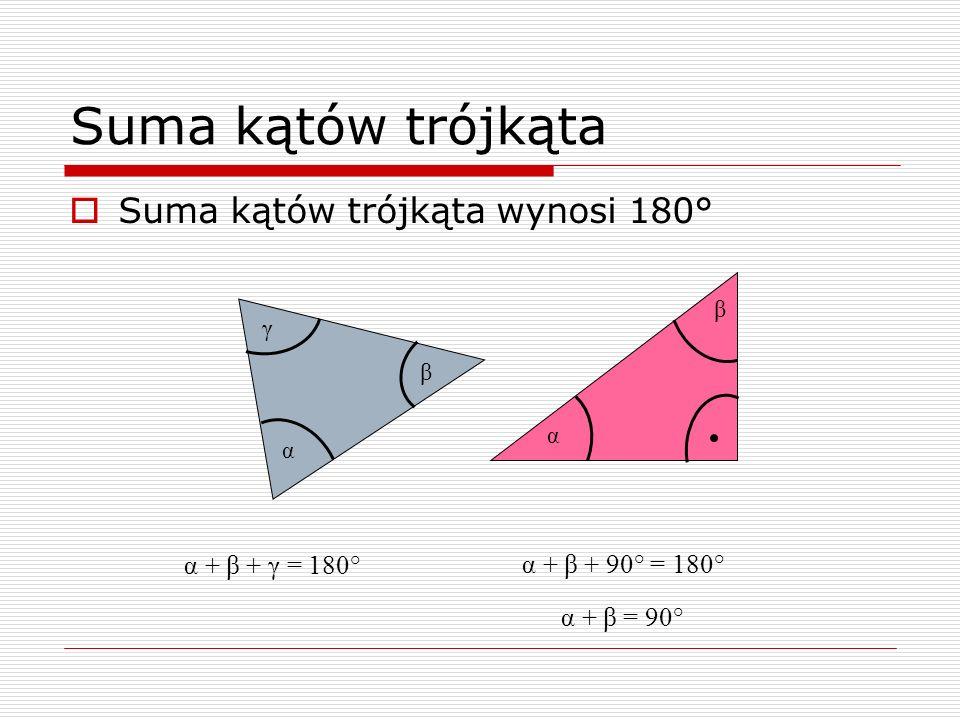 Suma kątów trójkąta Suma kątów trójkąta wynosi 180° α β γ α + β + γ = 180° α β α + β + 90° = 180° α + β = 90°