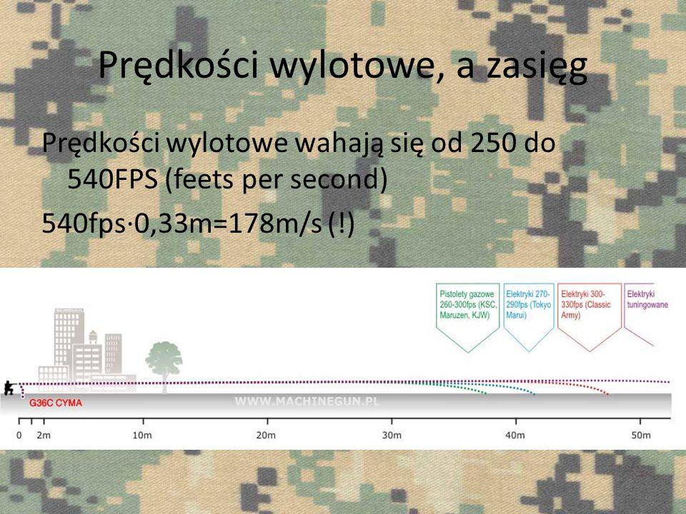 Prędkości wylotowe, a zasięg Prędkości wylotowe wahają się od 250 do 540FPS (feets per second) 540fps0,33m=178m/s (!)