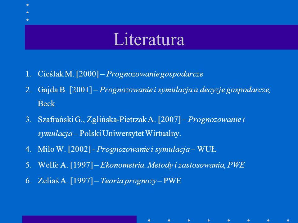 Literatura 1.Cieślak M. [2000] – Prognozowanie gospodarcze 2.Gajda B. [2001] – Prognozowanie i symulacja a decyzje gospodarcze, Beck 3.Szafrański G.,