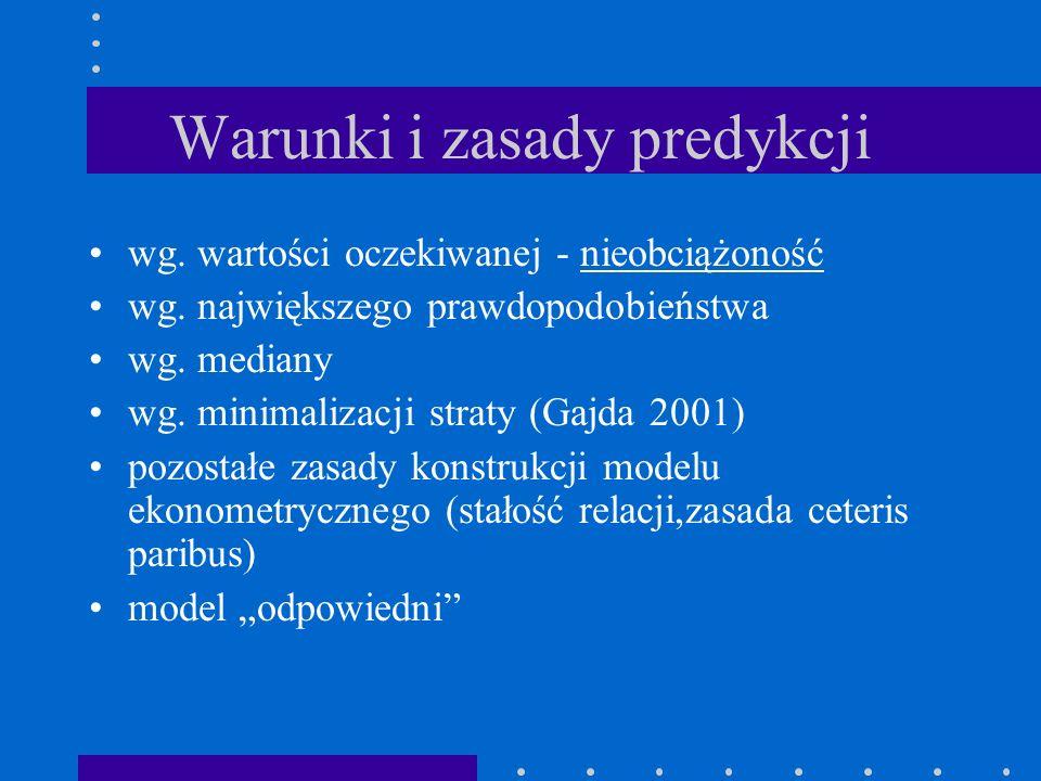 Etapy prognozowania Sformułowanie zadania prognostycznego (obiekt, cel, horyzont, dokładność) Sformułowanie przesłanek prognozy (mechanizm lub czynniki) Wybór predykatora i metody Wyznaczenie prognozy Ocena dokładności prognozy