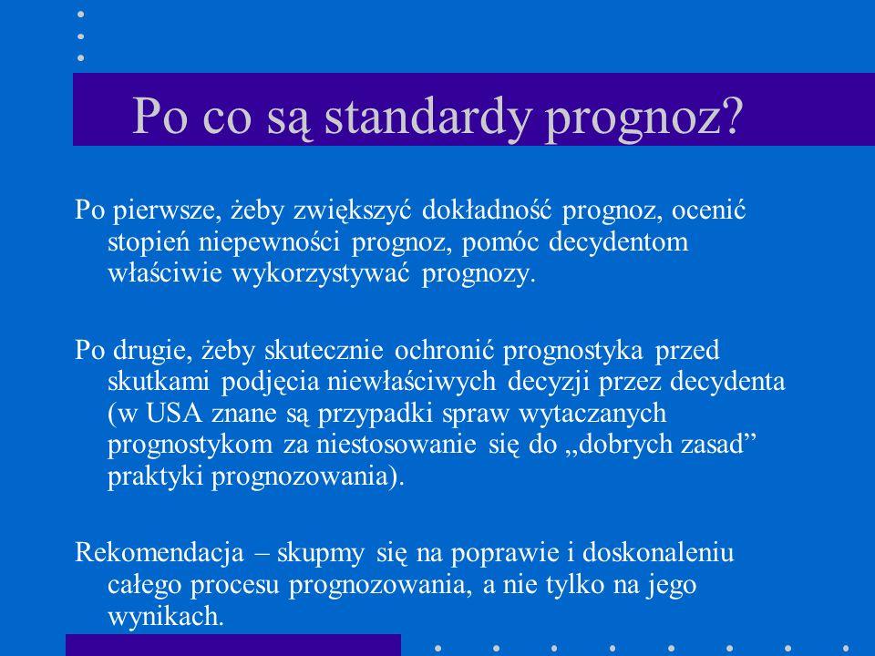 Po co są standardy prognoz? Po pierwsze, żeby zwiększyć dokładność prognoz, ocenić stopień niepewności prognoz, pomóc decydentom właściwie wykorzystyw