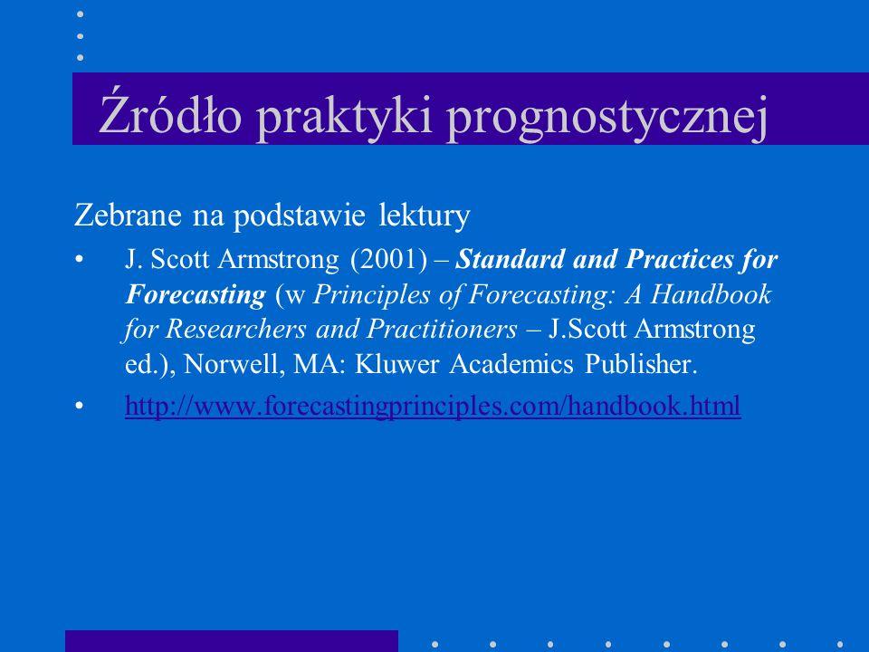 Źródło praktyki prognostycznej Zebrane na podstawie lektury J. Scott Armstrong (2001) – Standard and Practices for Forecasting (w Principles of Foreca
