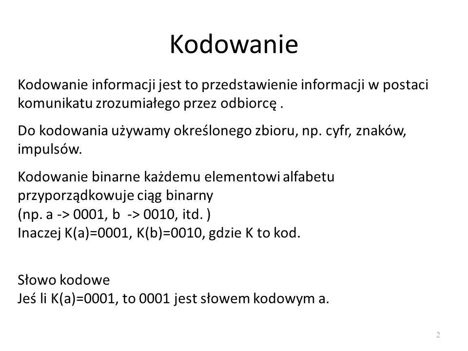 Kodowanie 2 Kodowanie informacji jest to przedstawienie informacji w postaci komunikatu zrozumiałego przez odbiorcę. Kodowanie binarne każdemu element