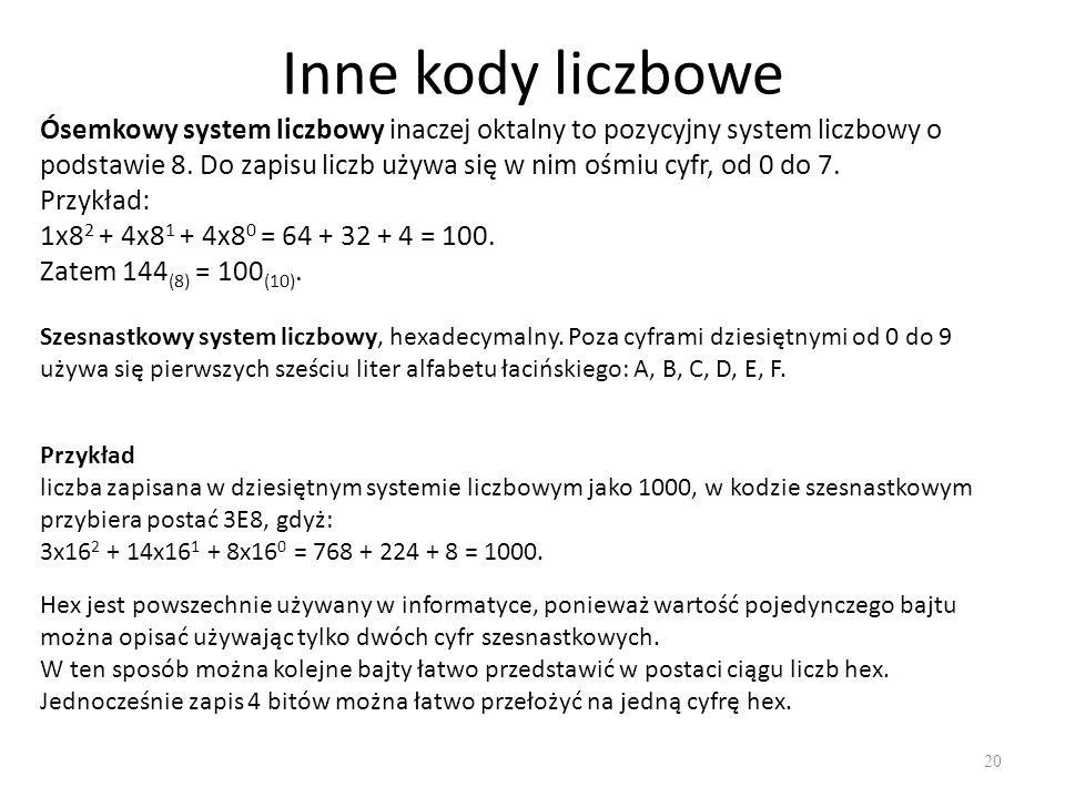 Inne kody liczbowe 20 Ósemkowy system liczbowy inaczej oktalny to pozycyjny system liczbowy o podstawie 8. Do zapisu liczb używa się w nim ośmiu cyfr,