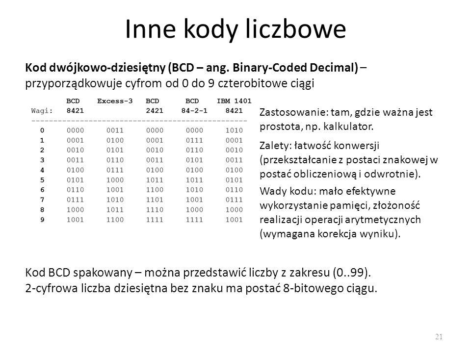 Inne kody liczbowe 21 Kod dwójkowo-dziesiętny (BCD – ang. Binary-Coded Decimal) – przyporządkowuje cyfrom od 0 do 9 czterobitowe ciągi Zastosowanie: t