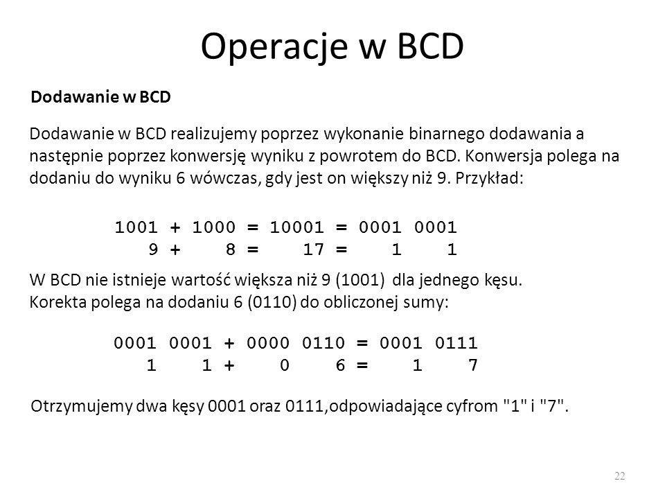 Operacje w BCD 22 Dodawanie w BCD Dodawanie w BCD realizujemy poprzez wykonanie binarnego dodawania a następnie poprzez konwersję wyniku z powrotem do