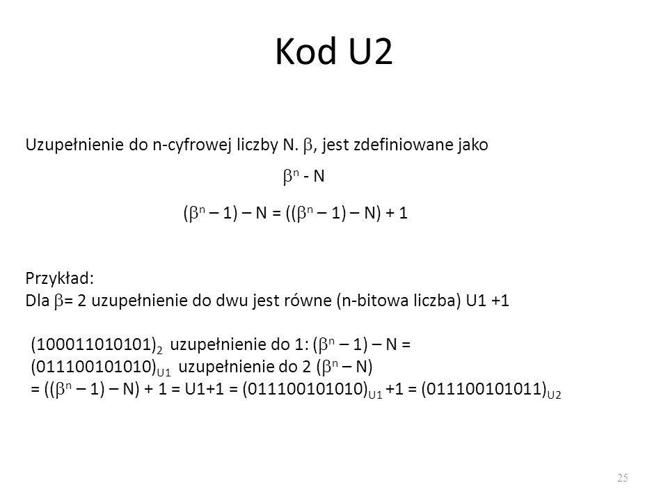 Kod U2 25 Uzupełnienie do n-cyfrowej liczby N., jest zdefiniowane jako Przykład: Dla = 2 uzupełnienie do dwu jest równe (n-bitowa liczba) U1 +1 n - N ( n – 1) – N = (( n – 1) – N) + 1 (100011010101) 2 uzupełnienie do 1: ( n – 1) – N = (011100101010) U1 uzupełnienie do 2 ( n – N) = (( n – 1) – N) + 1 = U1+1 = (011100101010) U1 +1 = (011100101011) U2