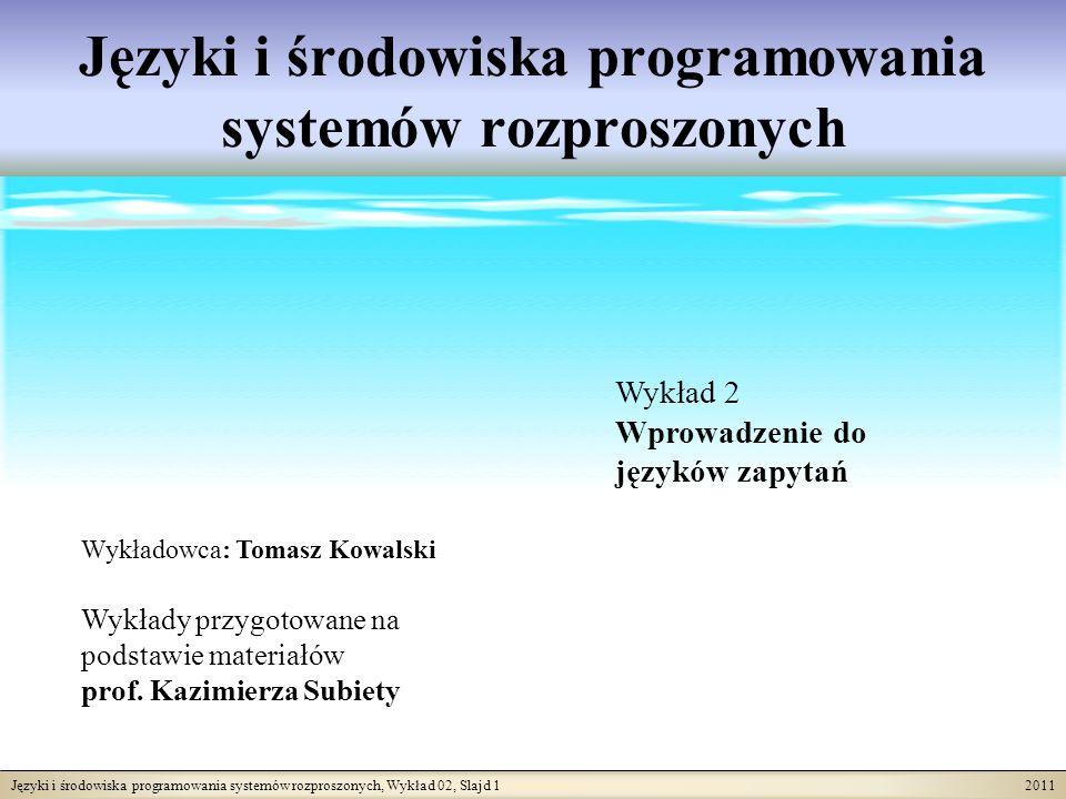 Języki i środowiska programowania systemów rozproszonych, Wykład 02, Slajd 12 2011 Co użytkownik musi wiedzieć.