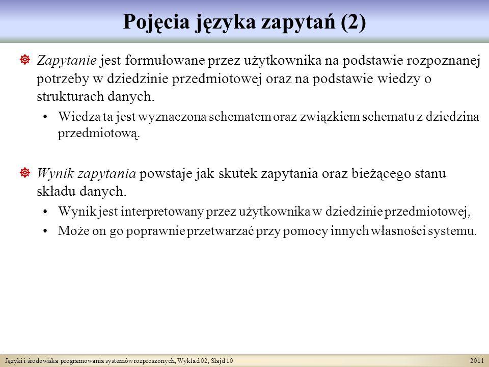 Języki i środowiska programowania systemów rozproszonych, Wykład 02, Slajd 10 2011 Pojęcia języka zapytań (2) Zapytanie jest formułowane przez użytkownika na podstawie rozpoznanej potrzeby w dziedzinie przedmiotowej oraz na podstawie wiedzy o strukturach danych.