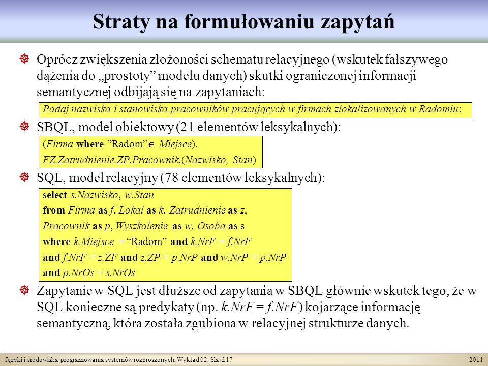 Języki i środowiska programowania systemów rozproszonych, Wykład 02, Slajd 17 2011 Straty na formułowaniu zapytań Oprócz zwiększenia złożoności schematu relacyjnego (wskutek fałszywego dążenia do prostoty modelu danych) skutki ograniczonej informacji semantycznej odbijają się na zapytaniach: Podaj nazwiska i stanowiska pracowników pracujących w firmach zlokalizowanych w Radomiu: SBQL, model obiektowy (21 elementów leksykalnych): (Firma where Radom Miejsce).