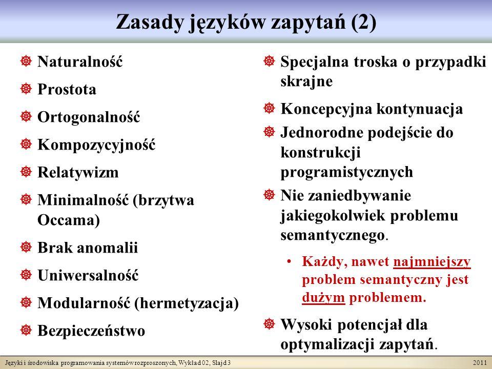 Języki i środowiska programowania systemów rozproszonych, Wykład 02, Slajd 4 2011 Obiektowość a języki zapytań Stosunek obiektowości do języków zapytań nadal nie jest do końca jasny.