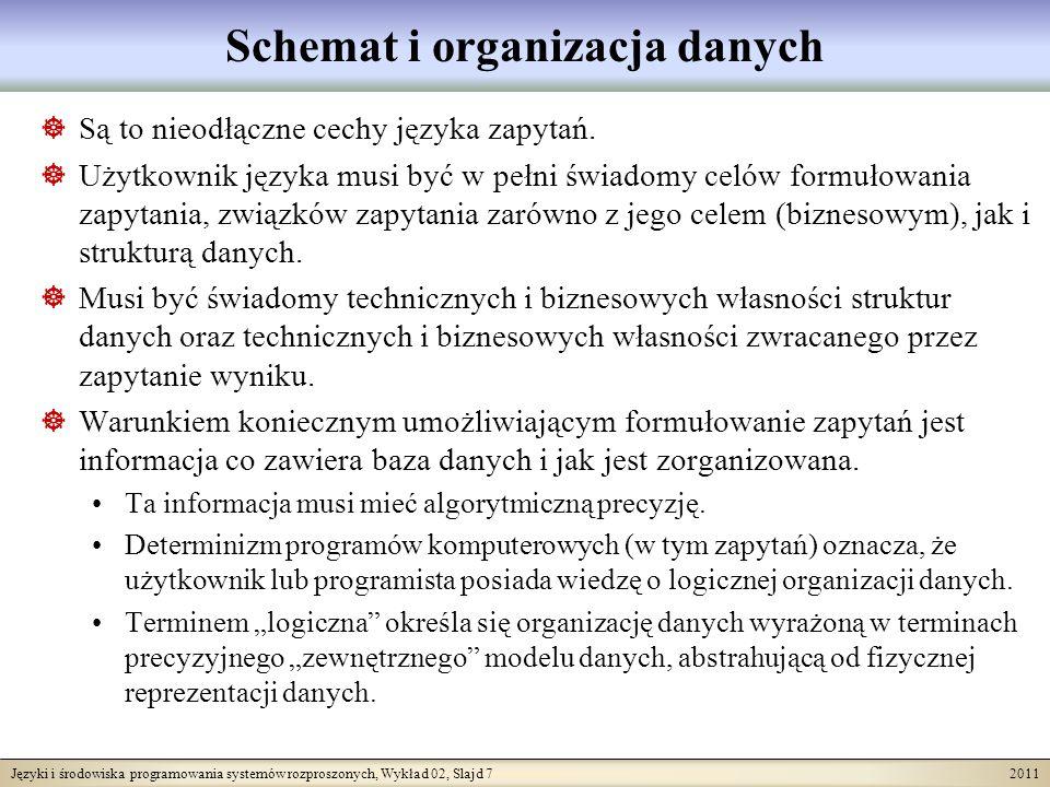 Języki i środowiska programowania systemów rozproszonych, Wykład 02, Slajd 8 2011 Zależności pomiędzy pojęciami języka zapytań Dziedzina przedmiotowa, uniwersum rozważań Model składu danych Meta-model Schemat składu (bazy) danych Bieżący stan składu danych Zapytanie wiedza o strukturach danych Wynik zapytania znaczenie danych potrzeba interpretacja wyniku Możliwy stan składu danych