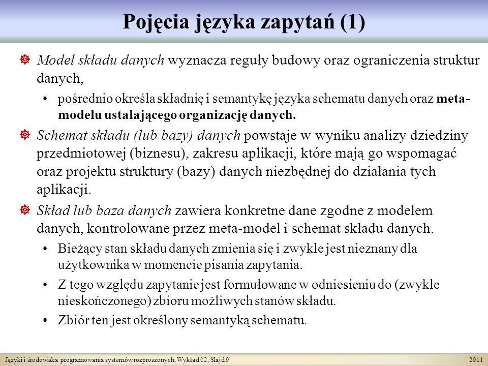 Języki i środowiska programowania systemów rozproszonych, Wykład 02, Slajd 9 2011 Pojęcia języka zapytań (1) Model składu danych wyznacza reguły budowy oraz ograniczenia struktur danych, pośrednio określa składnię i semantykę języka schematu danych oraz meta- modelu ustalającego organizację danych.