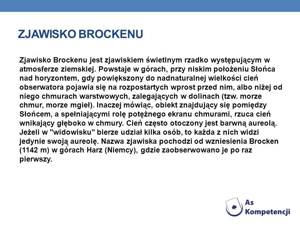 ZJAWISKO BROCKENU Zjawisko Brockenu jest zjawiskiem świetlnym rzadko występującym w atmosferze ziemskiej. Powstaje w górach, przy niskim położeniu Sło