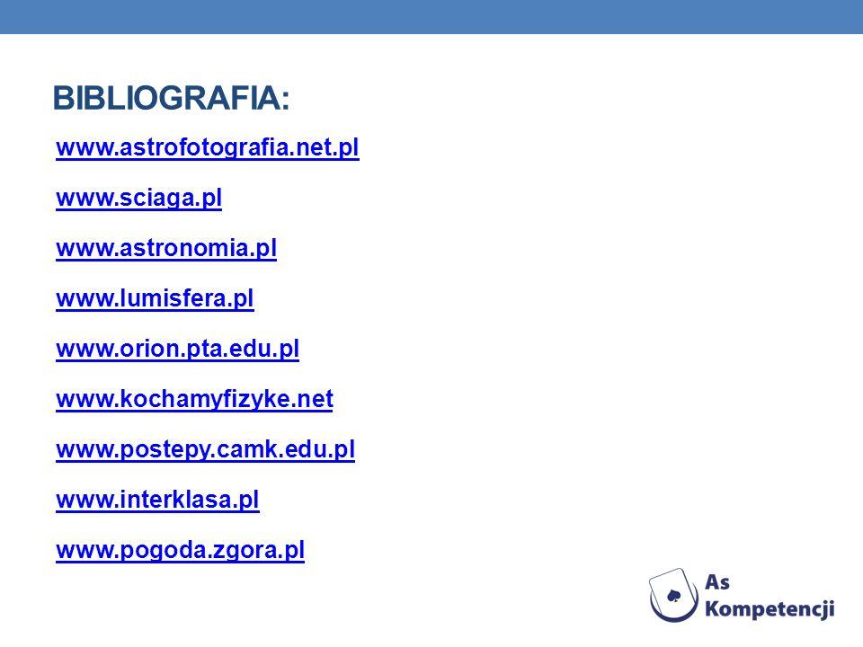 BIBLIOGRAFIA: www.astrofotografia.net.pl www.sciaga.pl www.astronomia.pl www.lumisfera.pl www.orion.pta.edu.pl www.kochamyfizyke.net www.postepy.camk.