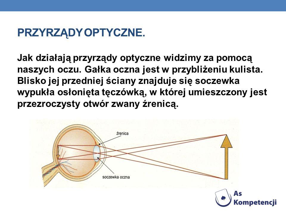 PRZYRZĄDY OPTYCZNE. Jak działają przyrządy optyczne widzimy za pomocą naszych oczu. Gałka oczna jest w przybliżeniu kulista. Blisko jej przedniej ścia