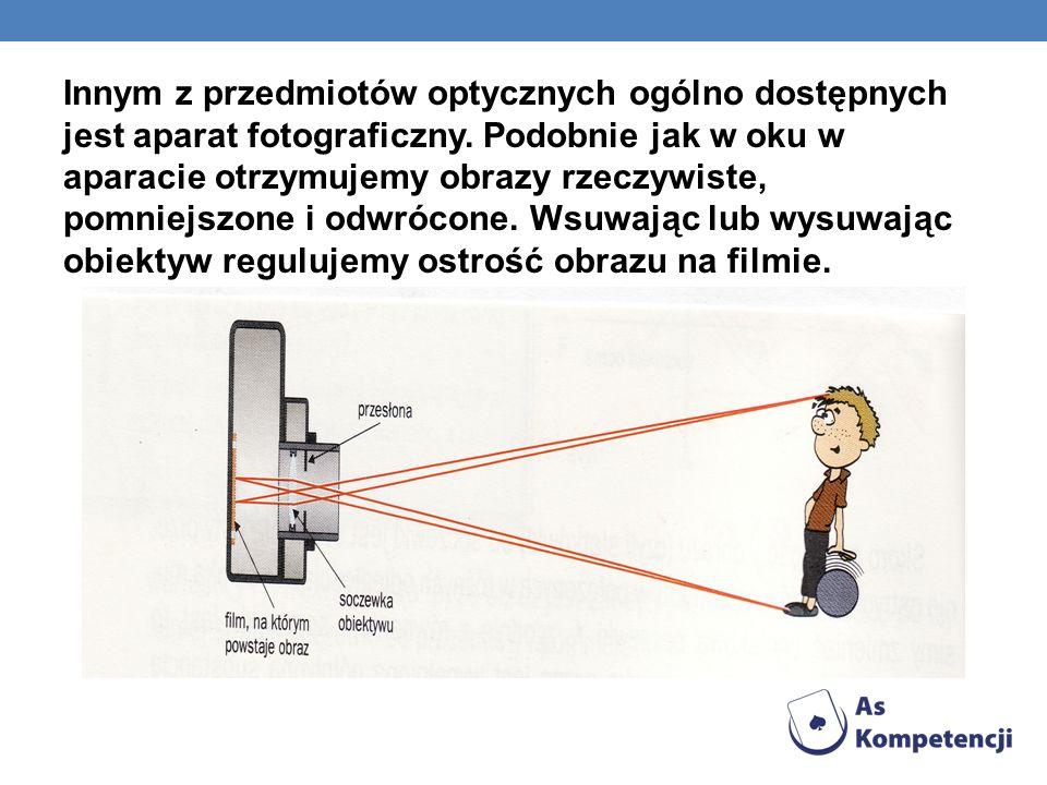 Innym z przedmiotów optycznych ogólno dostępnych jest aparat fotograficzny. Podobnie jak w oku w aparacie otrzymujemy obrazy rzeczywiste, pomniejszone