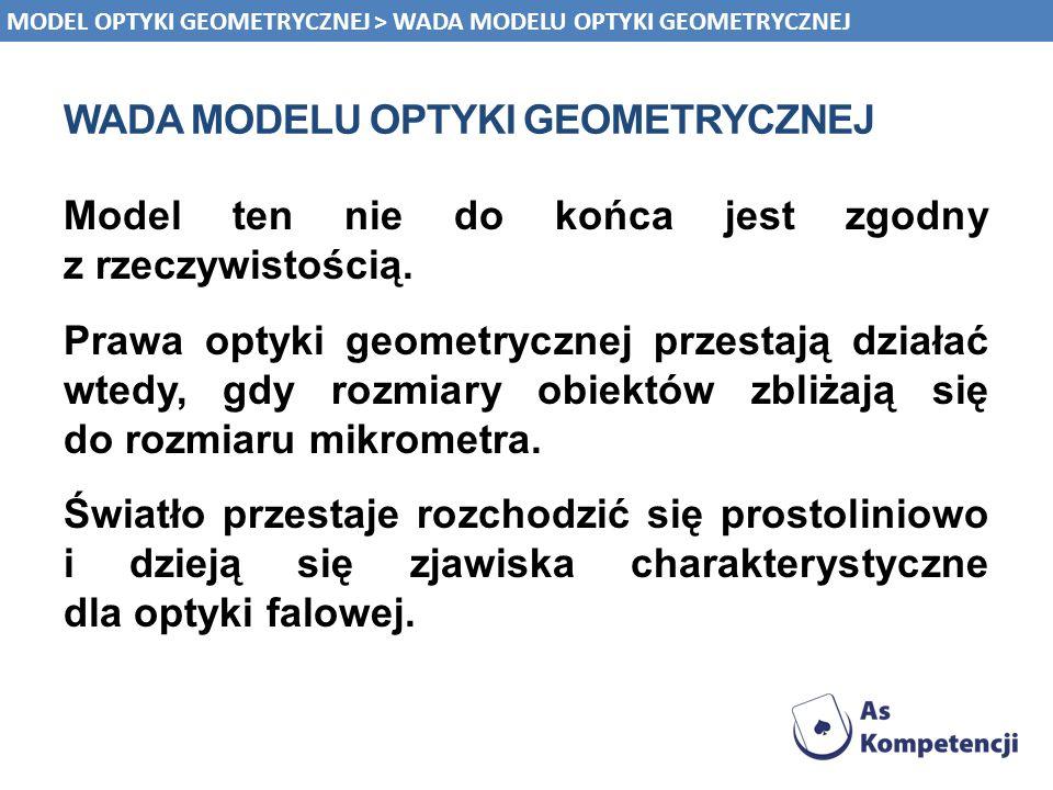 WADA MODELU OPTYKI GEOMETRYCZNEJ Model ten nie do końca jest zgodny z rzeczywistością. Prawa optyki geometrycznej przestają działać wtedy, gdy rozmiar