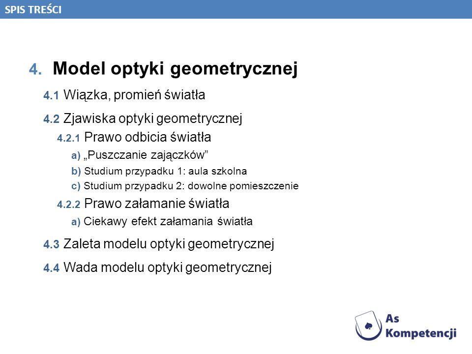 4. Model optyki geometrycznej 4.1 Wiązka, promień światła 4.2 Zjawiska optyki geometrycznej 4.2.1 Prawo odbicia światła a) Puszczanie zajączków b) Stu