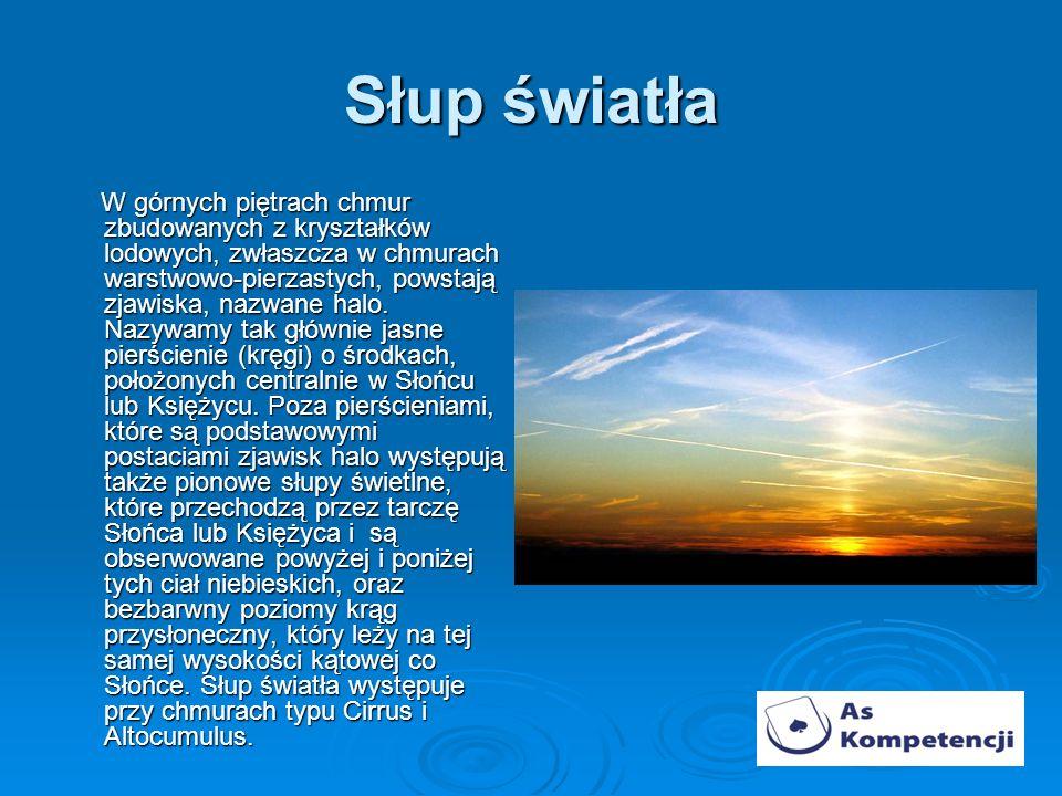 Słup światła W górnych piętrach chmur zbudowanych z kryształków lodowych, zwłaszcza w chmurach warstwowo-pierzastych, powstają zjawiska, nazwane halo.