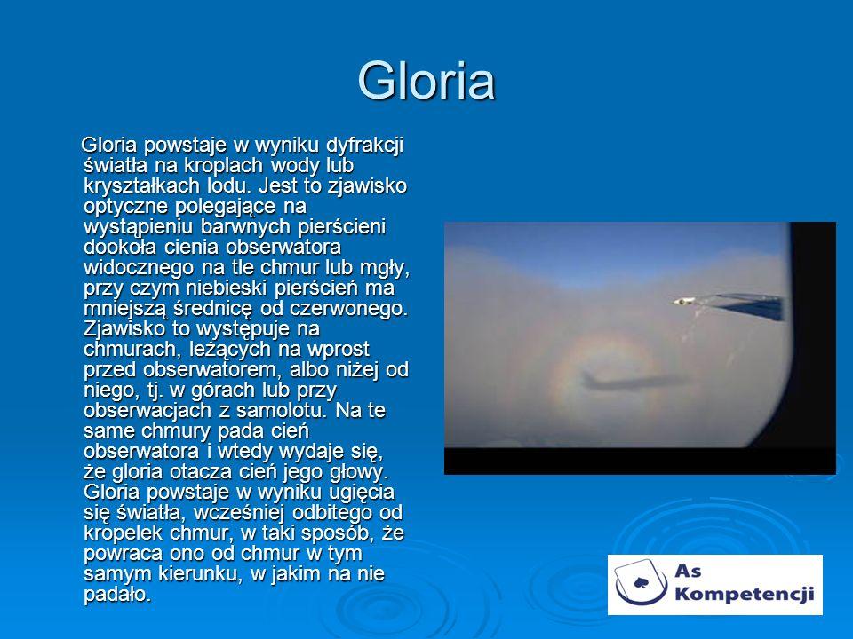 Gloria Gloria powstaje w wyniku dyfrakcji światła na kroplach wody lub kryształkach lodu.