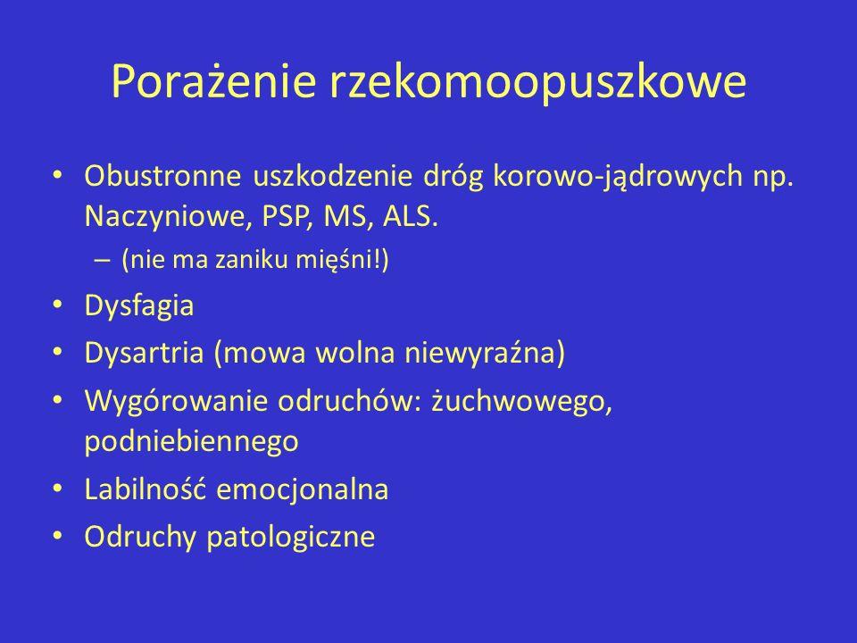 Porażenie rzekomoopuszkowe Obustronne uszkodzenie dróg korowo-jądrowych np. Naczyniowe, PSP, MS, ALS. – (nie ma zaniku mięśni!) Dysfagia Dysartria (mo