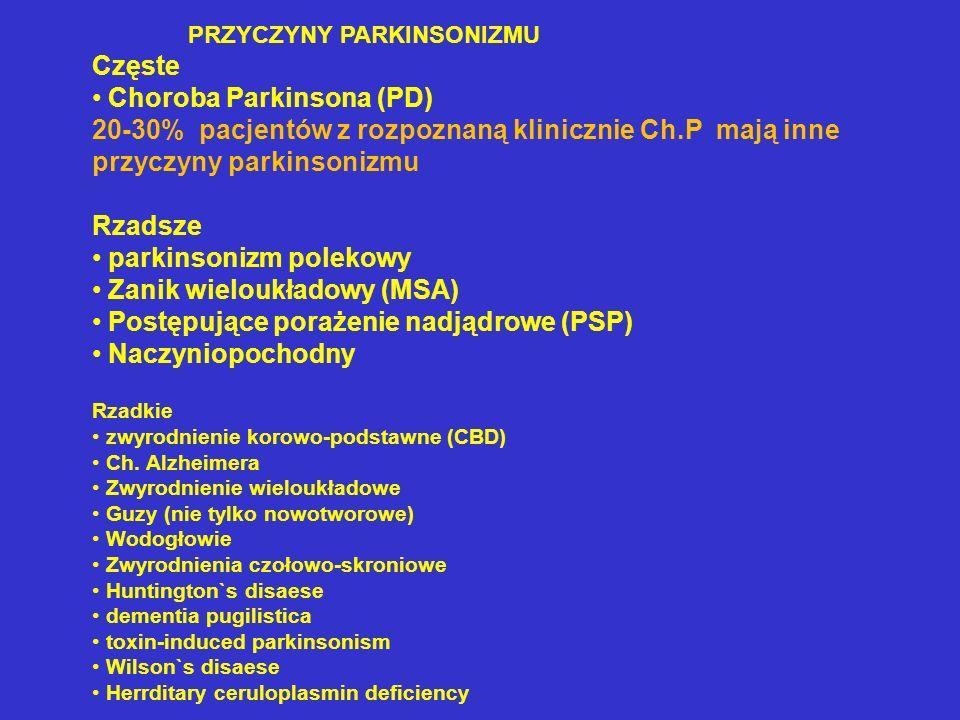 PRZYCZYNY PARKINSONIZMU Częste Choroba Parkinsona (PD) 20-30% pacjentów z rozpoznaną klinicznie Ch.P mają inne przyczyny parkinsonizmu Rzadsze parkins