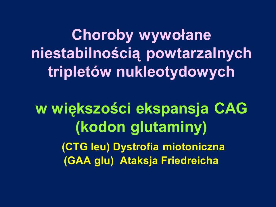 Choroby wywołane niestabilnością powtarzalnych tripletów nukleotydowych w większości ekspansja CAG (kodon glutaminy) (CTG leu) Dystrofia miotoniczna (
