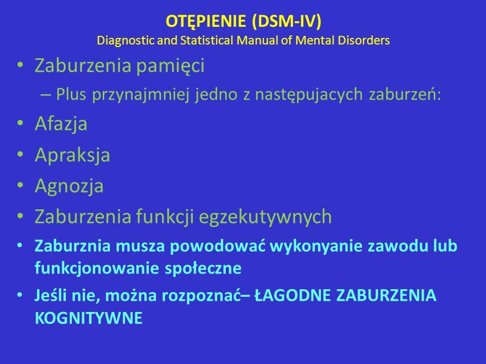 OTĘPIENIE (DSM-IV) Diagnostic and Statistical Manual of Mental Disorders Zaburzenia pamięci – Plus przynajmniej jedno z następujacych zaburzeń: Afazja