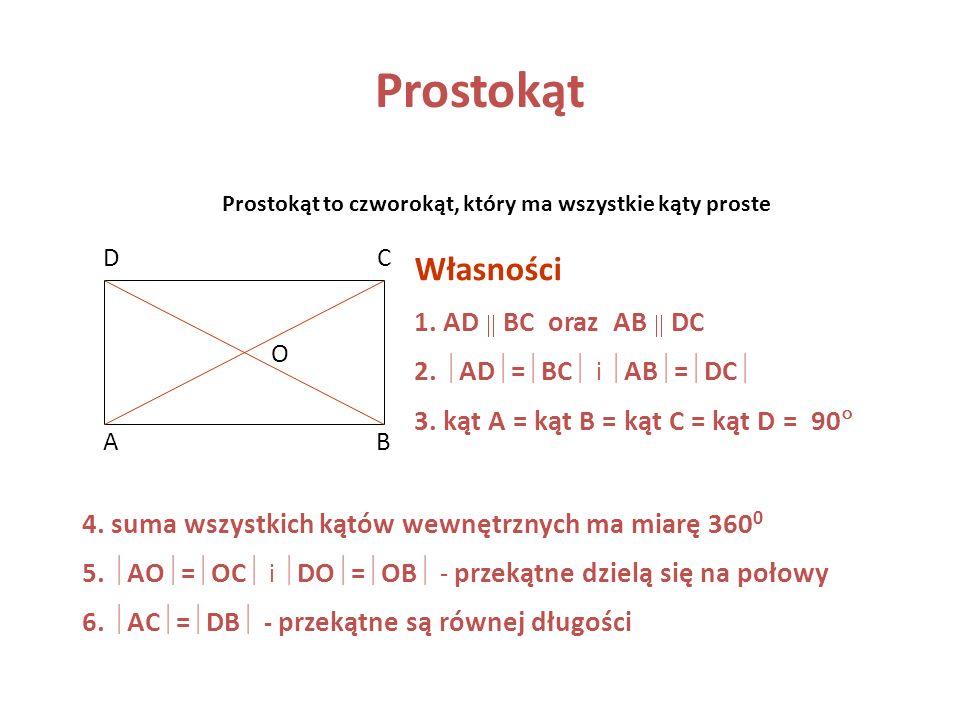 Kwadrat AB CD Bok kwadratu jest jednocześnie jego wysokością a a Pole kwadratu P = a ·a = a 2 Obwód kwadratu Obw = 4a Pole kwadratu jest równe kwadrat