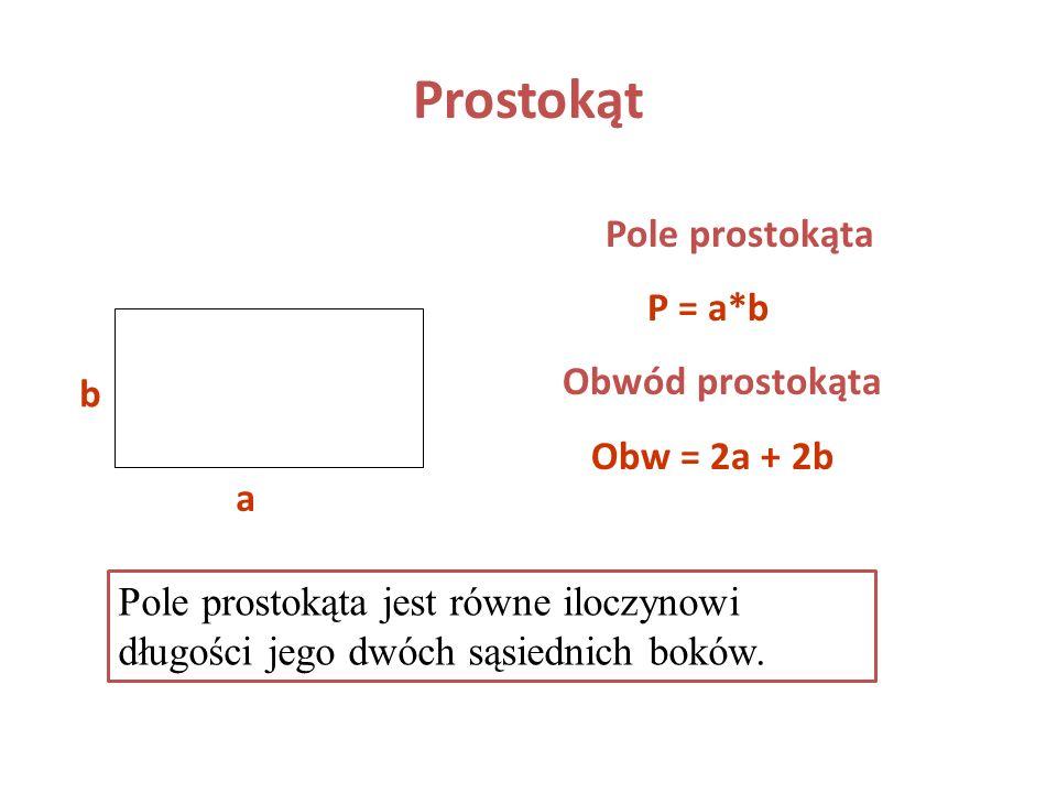 Prostokąt Prostokąt to czworokąt, który ma wszystkie kąty proste AB CD O Własności 1. AD BC oraz AB DC 2. AD = BC i AB = DC 3. kąt A = kąt B = kąt C =