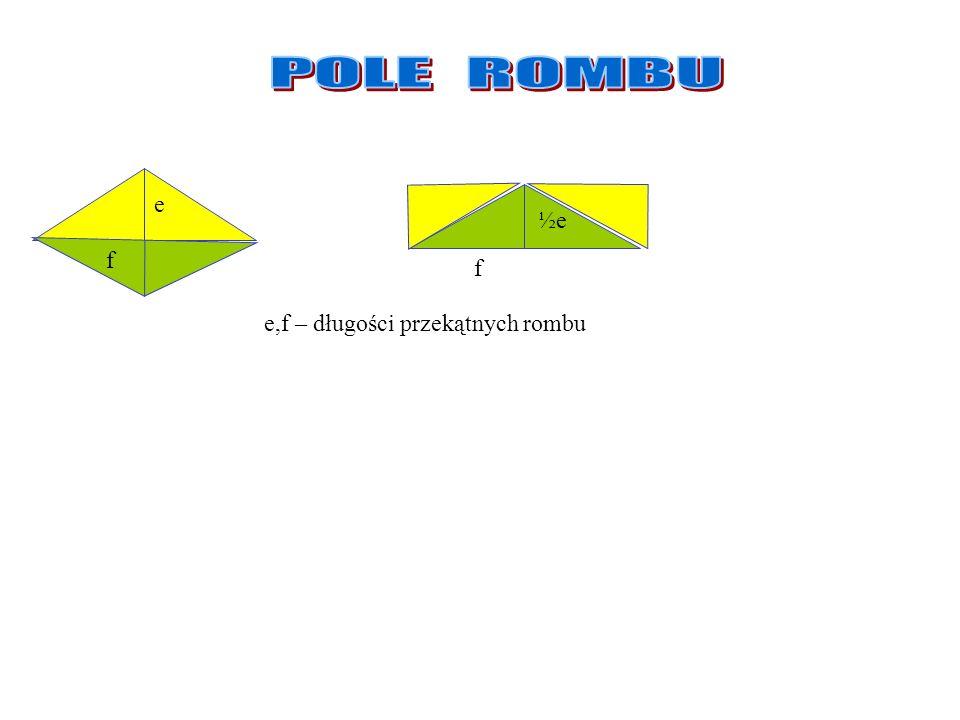Romb Romb ma dwie wysokości takiej samej długości Pole rombu 1. P = a ·h a a h Jeśli oznaczymy długości przekątnych rombu przez e i f to:.. Pole rombu