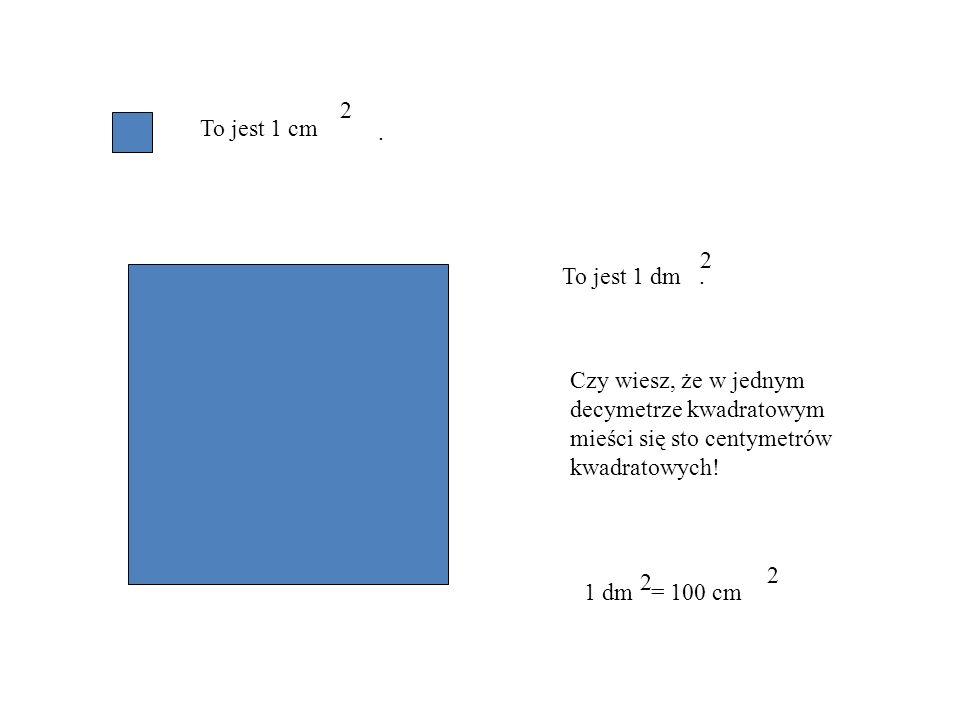Kwadrat o boku 1 mm i polu równym 1 mm 2 Kwadrat o boku 1 cm i polu równym 1 cm 2 Kwadrat o boku 1 dm i polu równym 1 dm 2 itd.