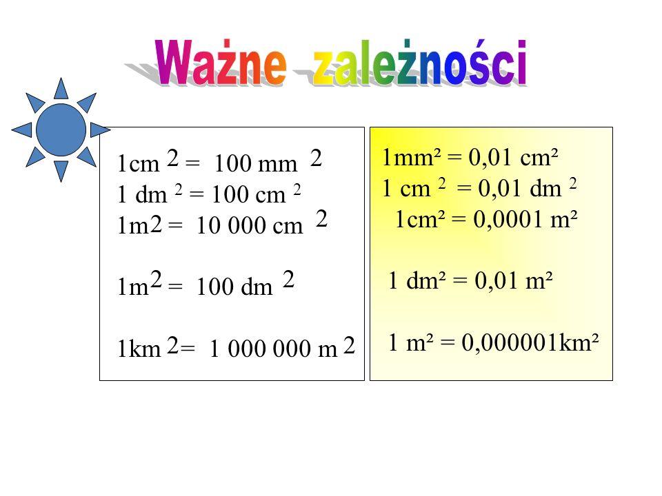 Ile 1 m ma milimetrów kwadratowych ? 2 Jeden metr kwadratowy, to pole kwadratu o boku jednego metra. Jeden metr ma sto centymetrów,czyli tysiąc mili-