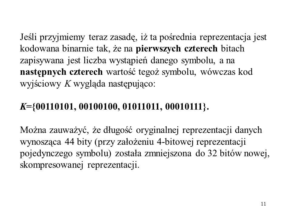 11 Jeśli przyjmiemy teraz zasadę, iż ta pośrednia reprezentacja jest kodowana binarnie tak, że na pierwszych czterech bitach zapisywana jest liczba wy