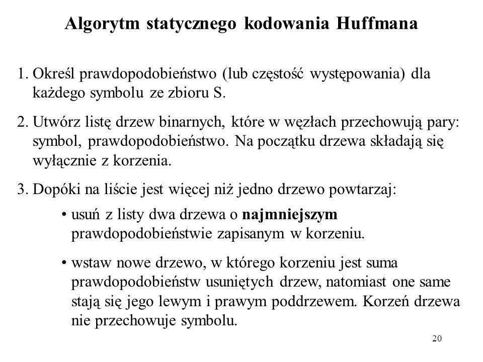20 Algorytm statycznego kodowania Huffmana 1.Określ prawdopodobieństwo (lub częstość występowania) dla każdego symbolu ze zbioru S. 2.Utwórz listę drz