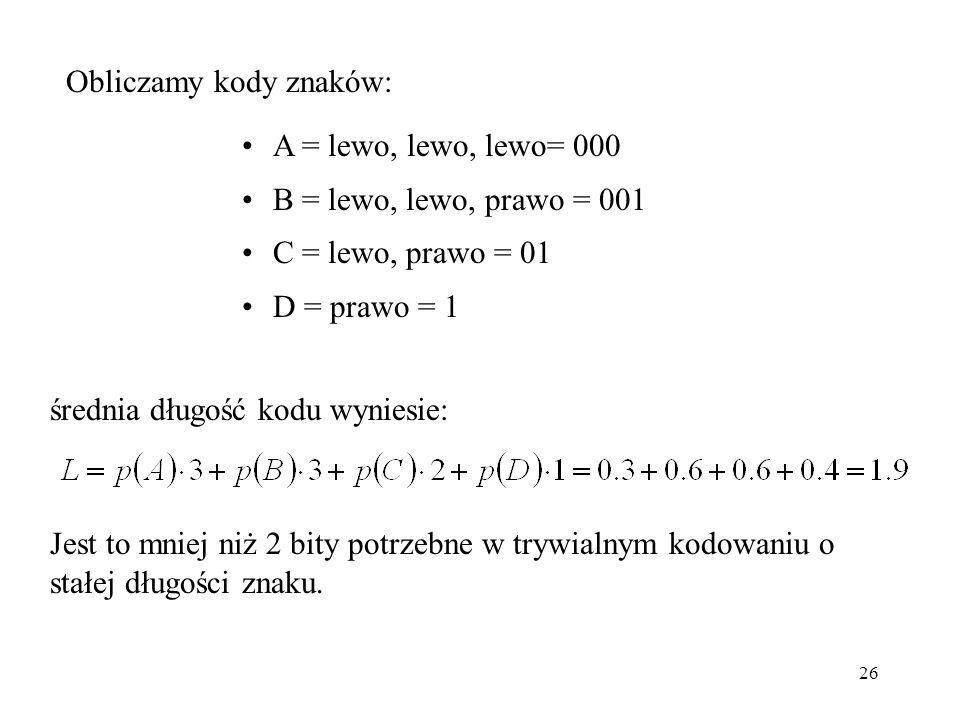 26 Obliczamy kody znaków: A = lewo, lewo, lewo= 000 B = lewo, lewo, prawo = 001 C = lewo, prawo = 01 D = prawo = 1 średnia długość kodu wyniesie: Jest