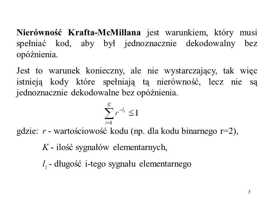 3 Nierówność Krafta-McMillana jest warunkiem, który musi spełniać kod, aby był jednoznacznie dekodowalny bez opóźnienia. Jest to warunek konieczny, al
