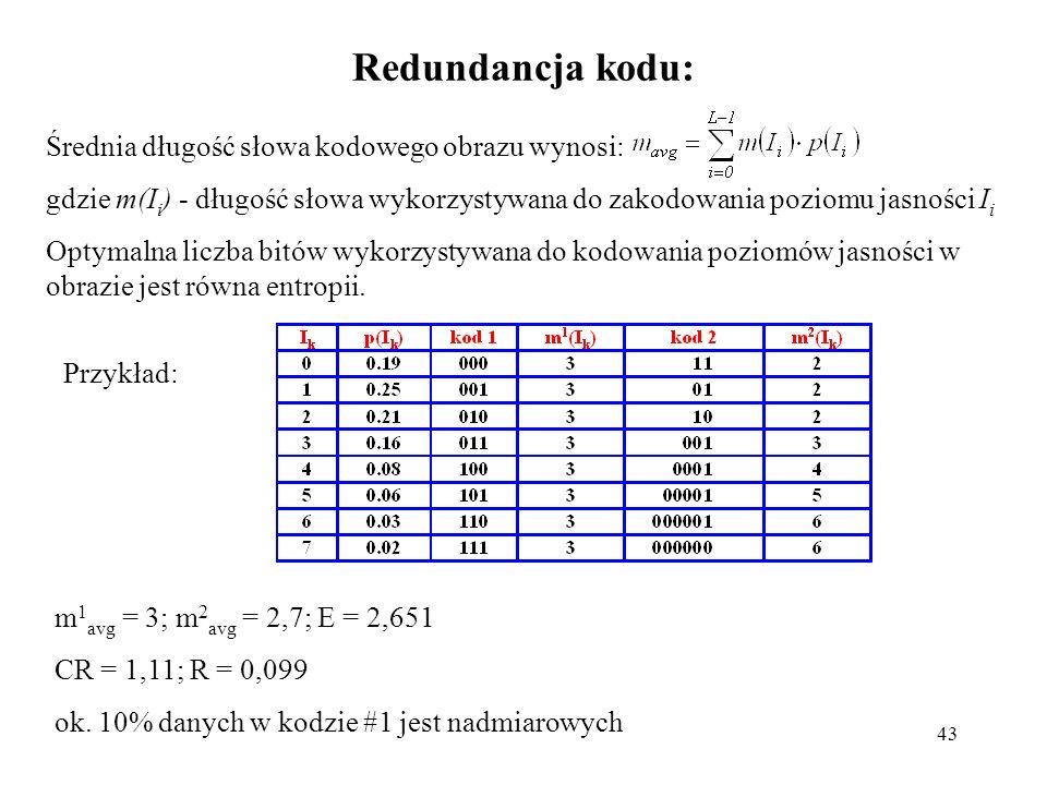 43 Redundancja kodu: Średnia długość słowa kodowego obrazu wynosi: gdzie m(I i ) - długość słowa wykorzystywana do zakodowania poziomu jasności I i Op
