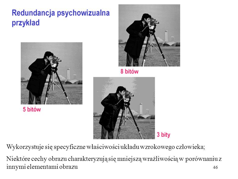 46 Wykorzystuje się specyficzne właściwości układu wzrokowego człowieka; Niektóre cechy obrazu charakteryzują się mniejszą wrażliwością w porównaniu z