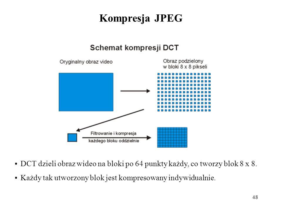 48 Kompresja JPEG DCT dzieli obraz wideo na bloki po 64 punkty każdy, co tworzy blok 8 x 8. Każdy tak utworzony blok jest kompresowany indywidualnie.