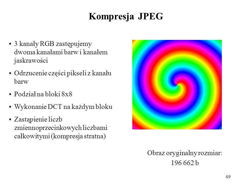 49 Kompresja JPEG 3 kanały RGB zastępujemy dwoma kanałami barw i kanałem jaskrawości Odrzucenie części pikseli z kanału barw Podział na bloki 8x8 Wyko
