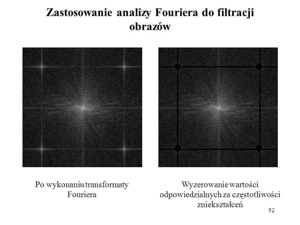 52 Zastosowanie analizy Fouriera do filtracji obrazów Po wykonaniu transformaty Fouriera Wyzerowanie wartości odpowiedzialnych za częstotliwości zniek