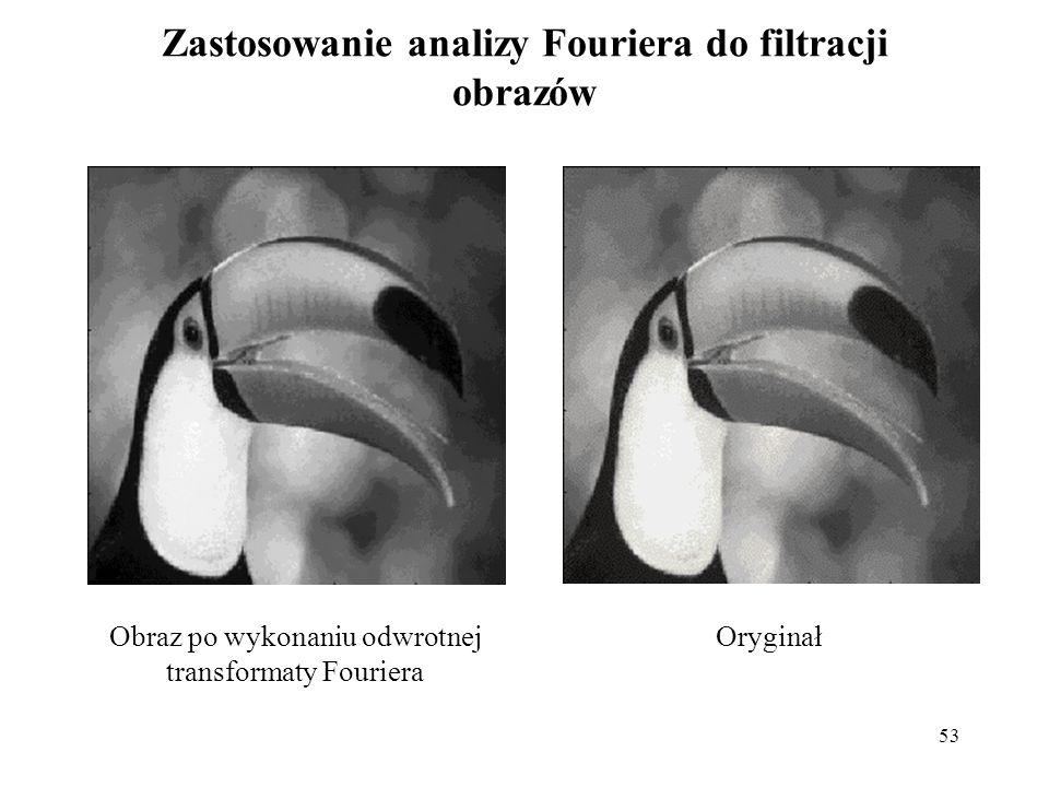 53 Zastosowanie analizy Fouriera do filtracji obrazów OryginałObraz po wykonaniu odwrotnej transformaty Fouriera