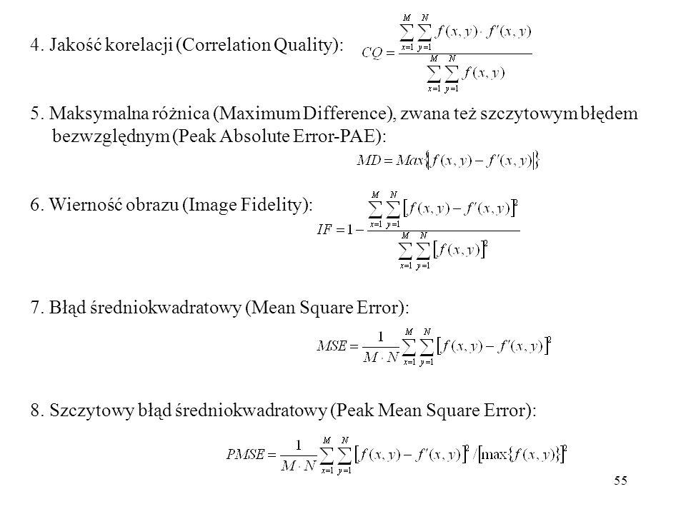 55 4. Jakość korelacji (Correlation Quality): 5. Maksymalna różnica (Maximum Difference), zwana też szczytowym błędem bezwzględnym (Peak Absolute Erro