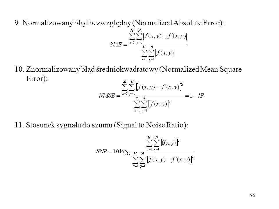 56 9. Normalizowany błąd bezwzględny (Normalized Absolute Error): 10. Znormalizowany błąd średniokwadratowy (Normalized Mean Square Error): 11. Stosun