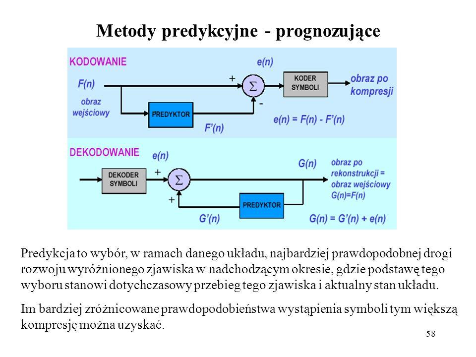 58 Metody predykcyjne - prognozujące Predykcja to wybór, w ramach danego układu, najbardziej prawdopodobnej drogi rozwoju wyróżnionego zjawiska w nadc