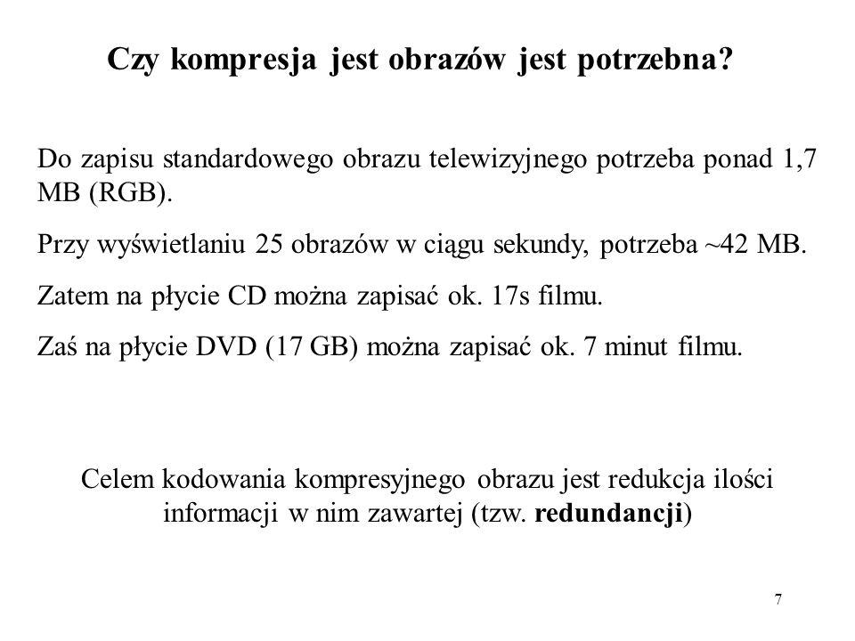 7 Czy kompresja jest obrazów jest potrzebna? Do zapisu standardowego obrazu telewizyjnego potrzeba ponad 1,7 MB (RGB). Przy wyświetlaniu 25 obrazów w
